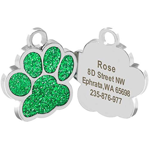 Cerolopy Custom Pet ID Tag Glitter Paw Personalized Laser Engraving, Personalized Dog Tags and Cat Tags, Add Your Own Text for Your Dog or cat(Green)