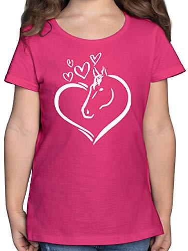 Tiermotive Kind - Pferdeportrait im Herz - 140 (9/11 Jahre) - Fuchsia - t- Shirt Pferd im Herz - F131K - Mädchen Kinder T-Shirt