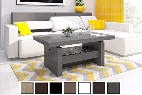 Design Couchtisch Tisch Aversa H-111 Grau/Anthrazit Hochglanz Schublade höhenverstellbar ausziehbar Esstisch