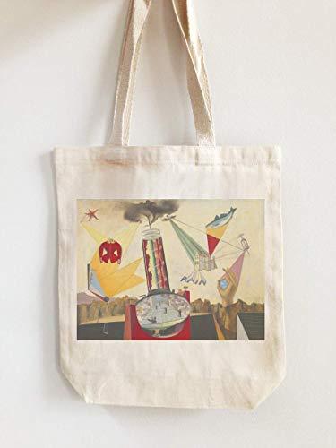 Roland Penrose – Geflügelter Domino-Malerei Custom Canvas Tote Bag mit Grafikdesign-Druck | Personalisierte Strandtasche | Modische & stilvolle Merchandise, Beige - Natural2 - Größe: Einheitsgröße