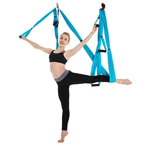 Funight Hamaca De Yoga Antigravedad, Columpio De Hamaca Aérea con Bolsa De Almacenamiento, Columpio Volador para Yoga Antigravedad Pilates Cielo Azul