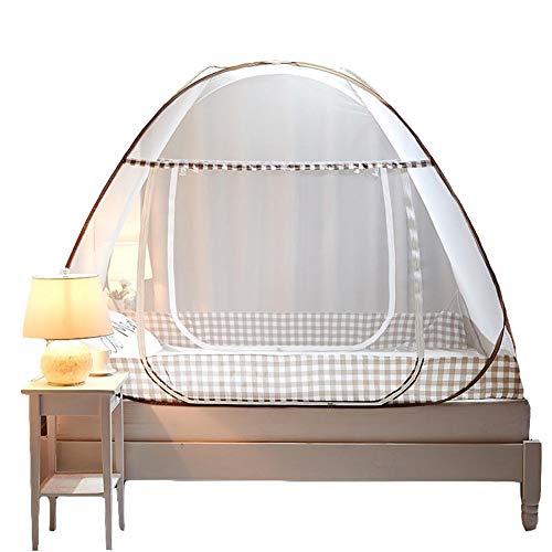 Wenset Pop up Moskitonetz, 1 Öffnung Für 4 ft Bett Faltbare Tragbar Bett baldachin Insektenschutznetz Einfache installation Für Einzelbett Doppelbett-braun 1.2x2x1.5m
