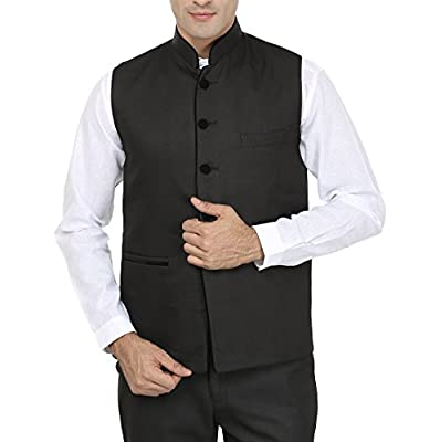Wintage Men 's Poly Cotton Bandhgala Festive Black Nehru Jacket Waistcoat 40 US / Medium by