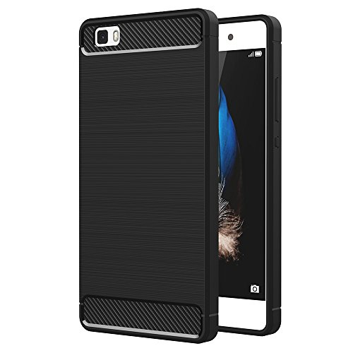 AICEK Cover Huawei P8 Lite, Nero Custodia P8 Lite Silicone Molle Black Cover per Huawei P8 Lite Soft TPU Case