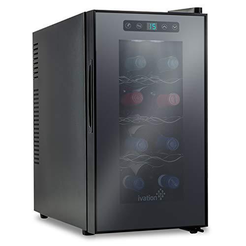 Refrigeratore termoelettrico per vino di Ivation, capacità: 8 bottiglie di rosso/bianco, display digitale con temperatura indicata, vetro temperato e affumicato, silenzioso
