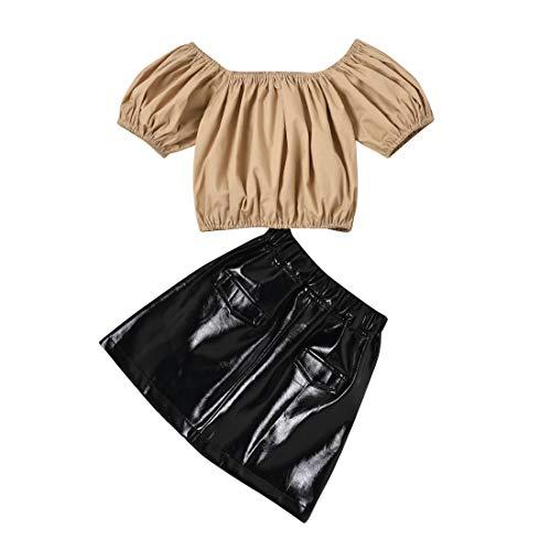 Kleinkind Baby Mädchen Kurzarm T-Shirt Top + A-Linie Lederrock Minikleid Outfits Set