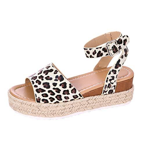 Damen Sandalen Leopard Riemchensandale Römersandale Plateauschuhe Flache Platform Slingback Peep Toe Sommer Outdoor Sandals Freizeitschuhe(3-Braun/Brown,38)