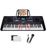 Souidmy C-L260 Es un teclado eléctrico de 61 teclas, 3 tipos de lecciones de aprendizaje con teclas iluminadas a tamaño completo y pantalla LCD...