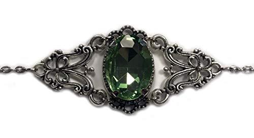 Silver Celtic Elven Queen Circlet Headpiece Headdress Crown Tiara Bridal Wedding Renaissance Medieval Halloween (Peridot Light Green)