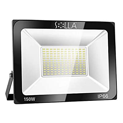 SOLLA 150W LED Flood Light, IP66 Waterproof, 12000lm, 800W Equivalent, Super Bright Outdoor Security Lights, 3000K Warm White, Outdoor Floodlight for Garage, Garden, Lawn and Yard