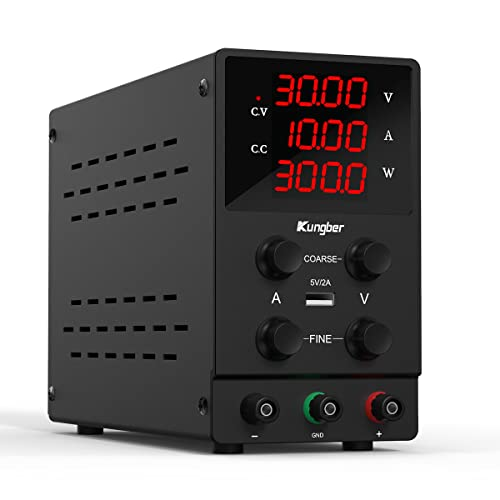 Kungber DC Power Supply Variable with 30V 10A Adjustable Switching, Coarse and Fine Adjustments with Alligator Leads