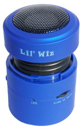 Lil' Wiz 360° TF Vibration Resonance Mini Music Dynamic Sound Expansion Multimedia Speaker for MP3 PC Phones iPhone iPad iPod + Free Window Adapter & SD Card - Blue