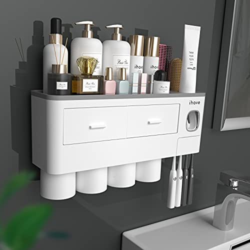 iHave Toothbrush Holder Wall Mounted with Toothpaste Dispenser, Large Capacity Tray, 2 Cosmetic Drawer, 4 Cups, 7 Brush Slots with Cover