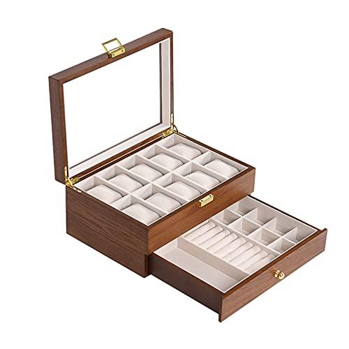 Joyero con tapa de vidrio Caja de joyas para mujeres 2 capas Cajas de joyería Mostrar caja de almacenamiento Lockable Madera Joyería Organizador Joyería para niñas Joyero de madera ( Color : Brown )
