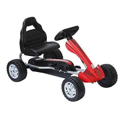 homcom Go Kart a Pedali Sedile Ergonomico per Bambini 3-6 Anni 80x49x50cm Rosso
