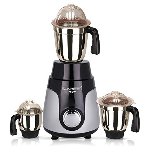 Sunmeet 750watt Mixer Grinder with 3 SJ Stainless Steel Jar (Black Silver) MA2019 Make in India (ISI Certified) 100% Copper.