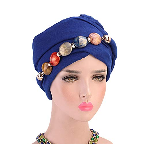 KDOAE Hats and Caps 5pcs Necklace Scarf Yarn Wrap Head Scarf Hat Baotou Jewelry Scarf for Women (Color : Royal blue, Size : One size)
