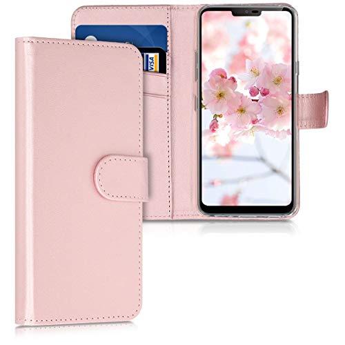 kwmobile Hülle kompatibel mit LG G7 ThinQ/Fit/One - Kunstleder Wallet Hülle mit Kartenfächern Stand in Rosegold
