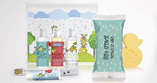 Neceser infantil. Kit de higiene infantil, 98% de ingredientes naturales (ECO-FRIENDLY), sin parabenos y no testados en animales. Fabricado en la Unión Europea.