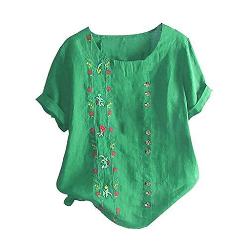 Rosennie Damen Tunika Tops Für Frauen Kurzarm Sommer Casual T Shirt Top Bluse Oberteil O-Ausschnitt Taste Tunika Shirt Damenhemden Knöpfen Tuniken Tops Elegante Große Größen M-5XL