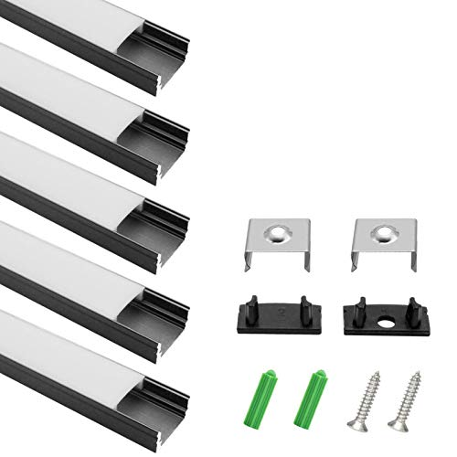 LightingWill 5-Pack 3.3ft/1M 9x17mm Black U-Shape Internal Width 12mm LED Aluminum Channel System with Cover, End Caps and Mounting Clips Aluminum Profile for LED Strip Light Installations-U02B5