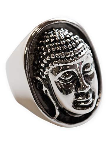 Fly Style Grosser Buddha Ring Siegelring aus 316L Edelstahl für Damen und Herren, Ring Grösse:22.9 mm