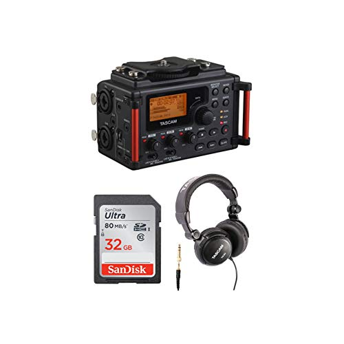 Tascam DR-60DmkII 4-Channel Portable Recorder Bundle with TH-03 Closed Back Over-Ear Headphone and 32GB Memory Card (3 Items)