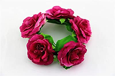 generic Travel wrist Bride Bridesmaid silk cloth hand Bracelet Beach Resort wrist flowers,Purplish redBirthday