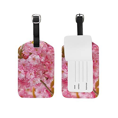 Bagage Tag voor Bagage koffer Cool Sakura Achtergronden Lederen Reistas Adres Labels 1 Stuk