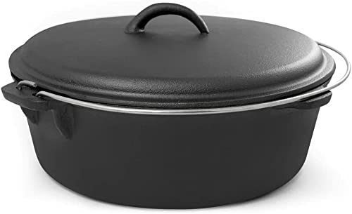 Cook Pro 6 qt. Round Cast Iron Dutch Oven in Black with Lid