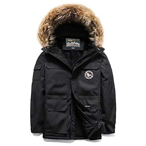 JIANYE Winterjacke Herren Lange Jacke Outdoor mit Fell Kapuze Abnehmbare Warme Gefüttert Winterparka Winddicht Parka Schwarz M
