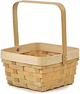 Small Bamboo Square Handle Basket