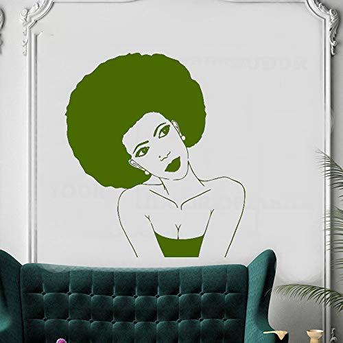 xingbuxin Peinado Afro Negro Mujer Africana Peluquería Pegatinas Interior Mural Salón de Belleza Mujeres Decoración para el Cabello Arte Salón Calcomanía 5 37x42cm