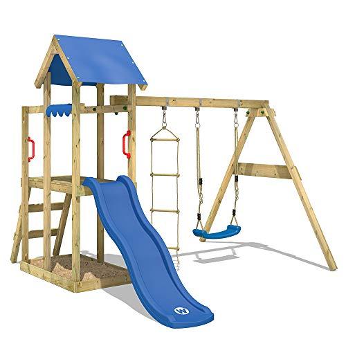 WICKEY Spielturm Klettergerüst TinyPlace Kletterturm Spielplatz mit Schaukel und Rutsche, Sandkasten und Strickleiter