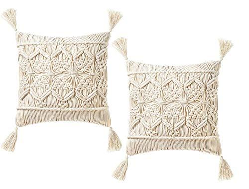 OMG-Deal Juego de 2 fundas de cojín de macramé para decoración de boda, 45,7 x 45,7 cm, juego de regalo