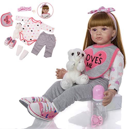 Minsong 60cm Soft Vinyl Silicone Life Like Reborn Baby Doll Capelli Lunghi Bambole Appena Nate Occhio Marrone Amore T-shirt A Maniche Lunghe + Pantaloni Grigi