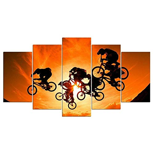 DBFHC Art Print Painting Canvas 5 Pieces Hd Wall Art Painting Bike Extreme Sports Tricks For Home Living Room Bedroom Office Mordern Stretched And Framed Decoration Gift
