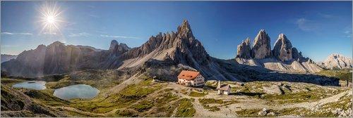 Posterlounge Acrylglasbild 90 x 30 cm: DREI ZINNEN - Panorama. Südtirol, Italien von Achim Thomae - Wandbild, Acryl Glasbild, Druck auf Acryl Glas Bild