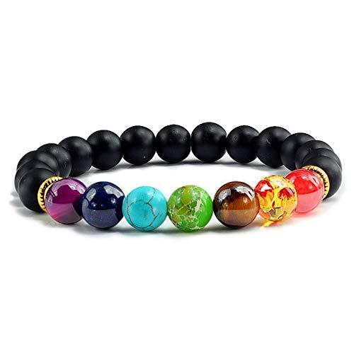 JIANGLAI Piedra natural ojo de tigre 7 chakras pulseras y brazaletes yoga equilibrio cuentas Buda oración pulsera elástica hombres pulseira masculina