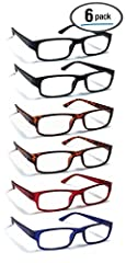 VALUE: 6 Pairs of rectangular readers in black, tortoise shell, blue and red in same magnification strength and 2 microfiber cleaning cloths COMFORT: Spring-loaded temple hinges provide flexibility in the glasses' temple/arms STYLISH: Classic rectang...