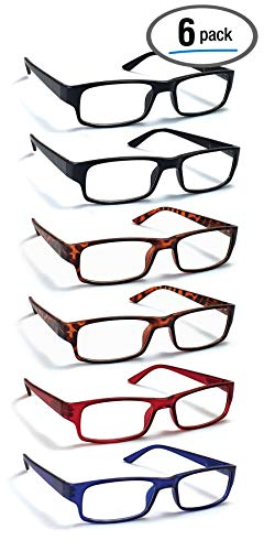 6 Pack Reading Glasses by BOOST EYEWEAR, Traditional Frames in Black, Tortoise Shell, Blue and Red, for Men and Women, with Comfort Spring Loaded Hinges, Assorted Colors, 6 Pairs (+3.00)