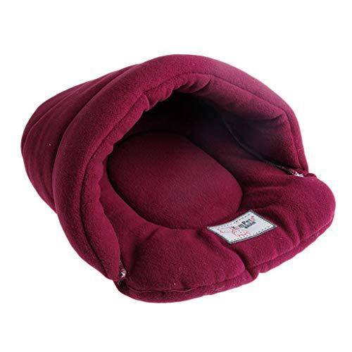 Koobysix kat benodigdheden zacht warm huisdier bed huis pluche zacht gezellig nest mat kussen kat hond nieuwe geschenken voor uw katten, M, Rood