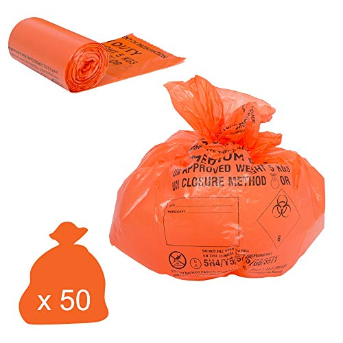 Yellow Pack of 50 Hanfare CX50//CWMD2 Clinical Waste Bag Medium Duty