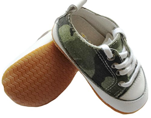 Prewalk Baby Shoes Boy Girl Infant Children Kid Toddler Crib Boy First Walk Gift Rubber Sole Canvas Camouflage Green lace (0-6month, Camouflage Green)