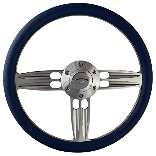 14 Inch Polished Aluminum Shotgun Steering Wheel - Blue/Chevy