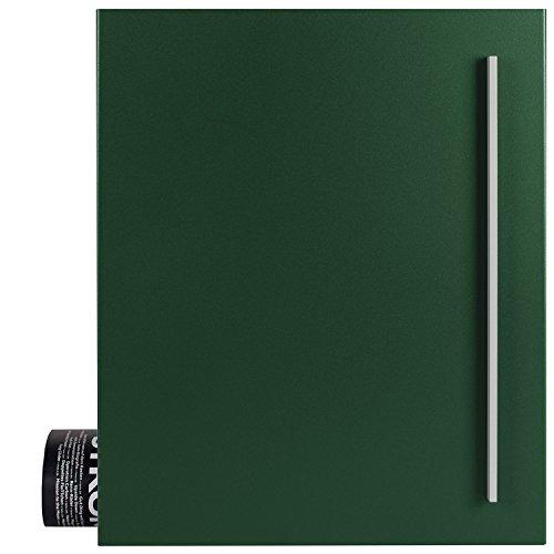Design-Briefkasten mit Zeitungsfach moos-grün (RAL 6005) MOCAVI Box 110 Postkasten mit Zeitungsrolle groß Wand-Briefkasten mit Zeitungsrolle modern deutsche Qualität DIN A4