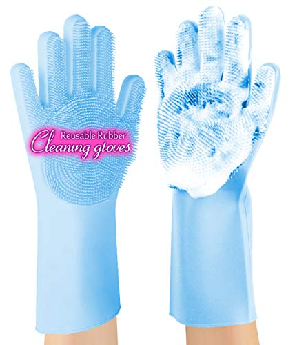 Product Image 1: ANZOEE Reusable Silicone Dishwashing Gloves, Pair of Rubber Scrubbing Gloves for Dishes, Wash Cleaning Gloves with Sponge Scrubbers for Washing Kitchen, Bathroom, Car and More (Blue)