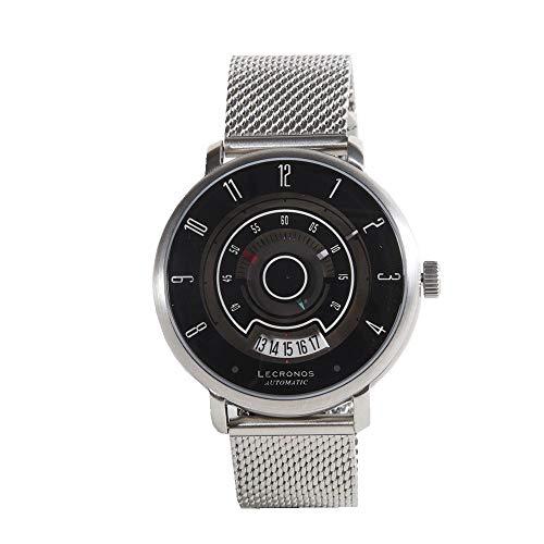 Lenvino Lecronos Vintage Automático Acero Negro Camisetas Hombre Reloj