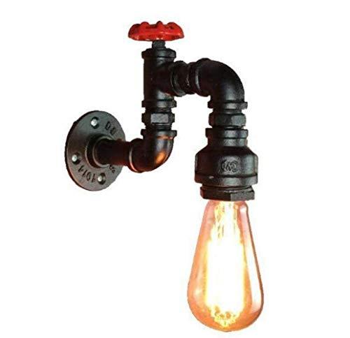 TTXP Lámpara de Pared, Aplique de pared de estilo industrial Steampunk Pipa de agua Apliques de pared Lámpara de pared vintage creativa Lámpara de hierro negro Carcasa para, Negro,