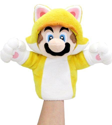 Super Mario 3D World Plüsch Handpuppe: Katzen-Mario / Cat Mario 24 cm